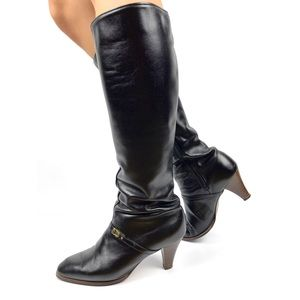 1970's tall black leather boots with stacked heel